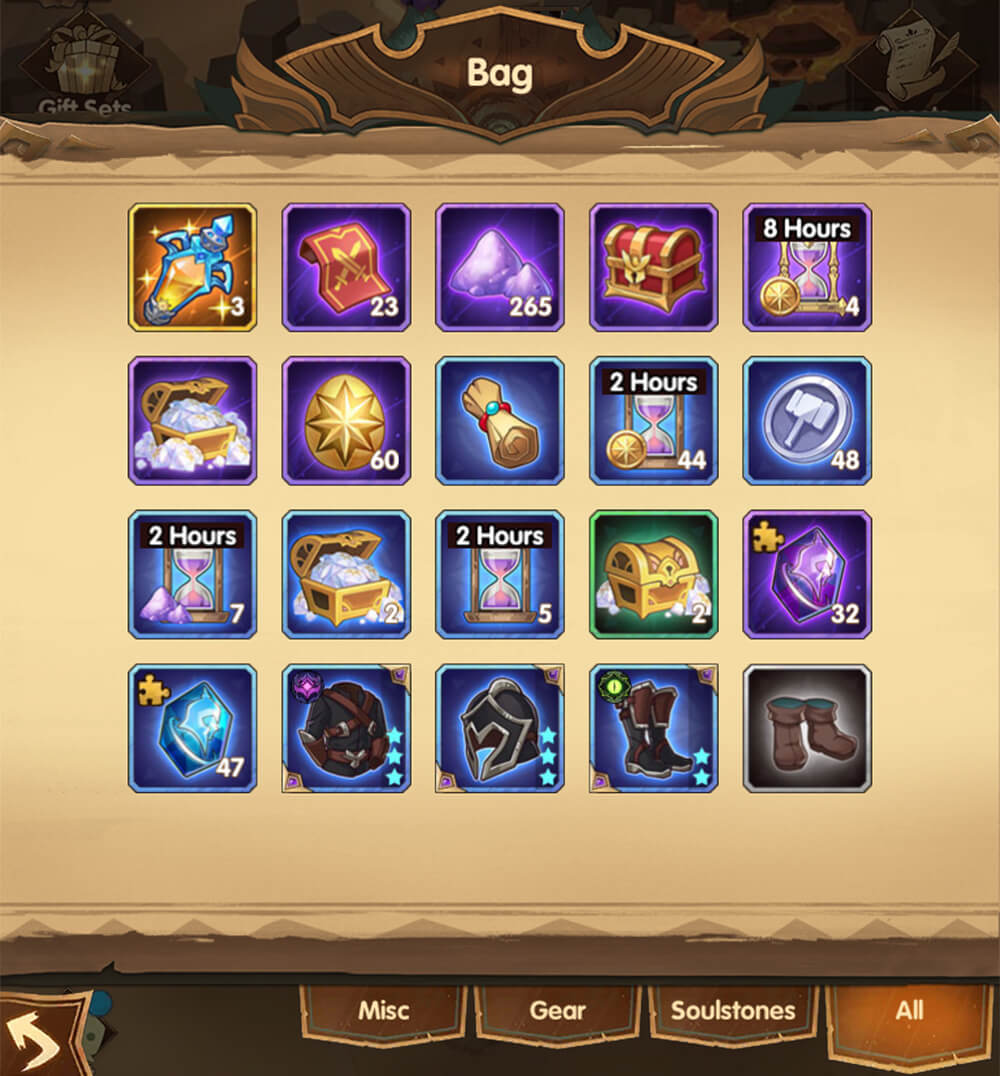 afk arena bag items