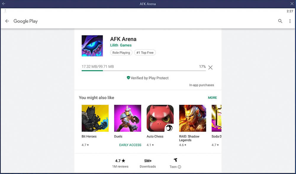 downloading afk arena pc