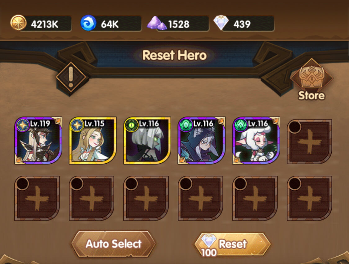 reset heroes afk arena