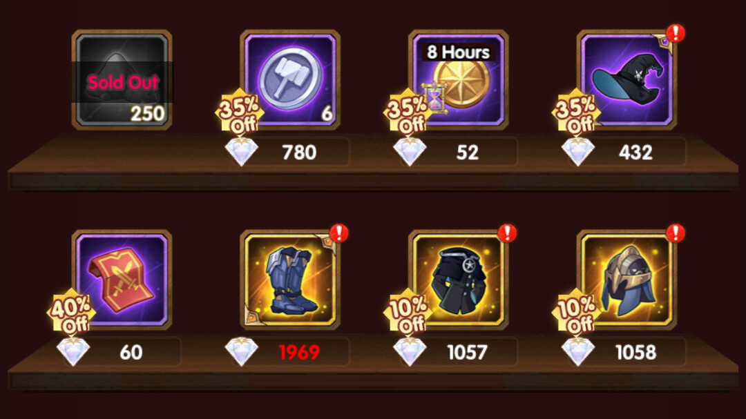 dont use diamonds to buy these items