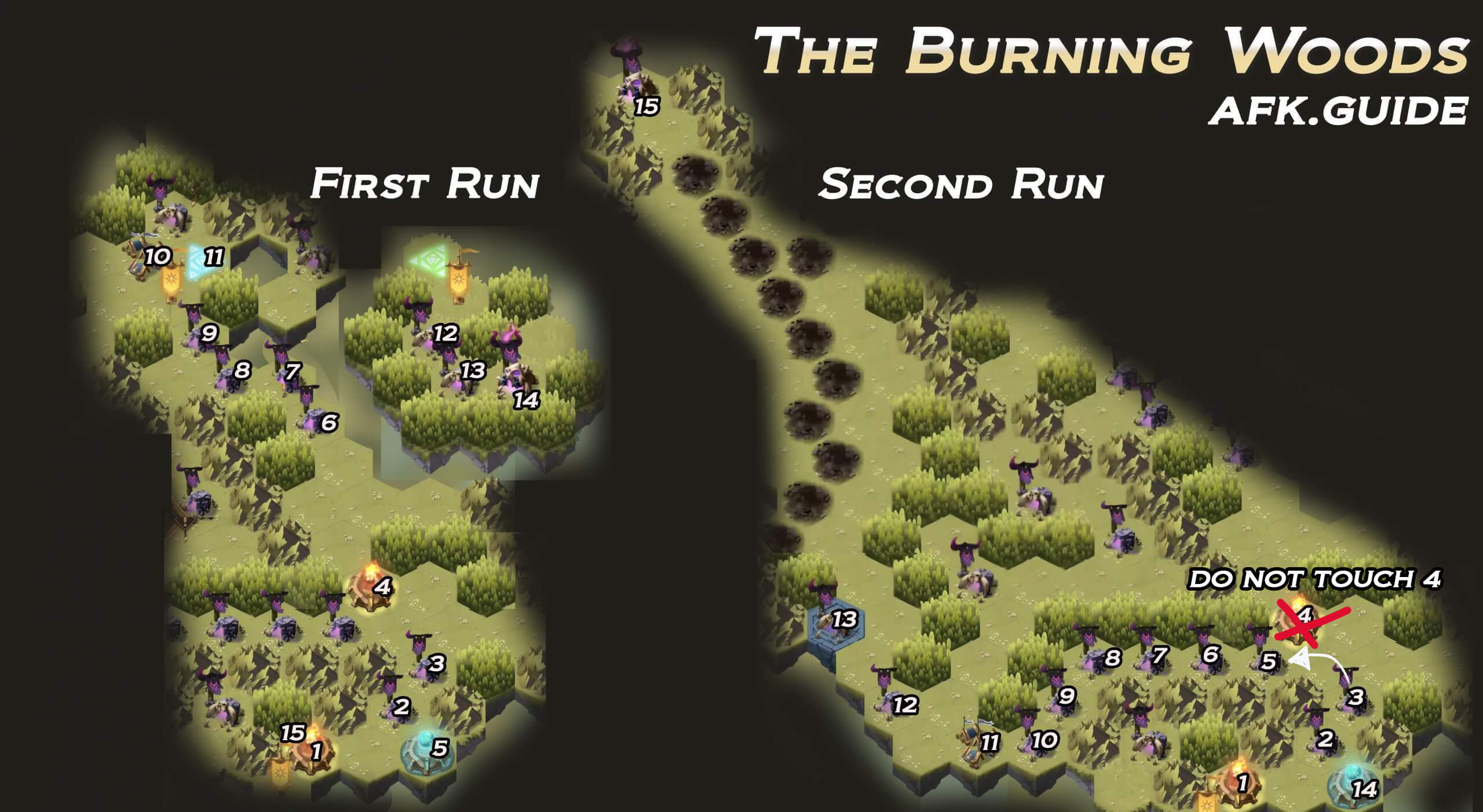 the burning woods map afk arena