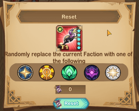 New Equipment Reset Feature